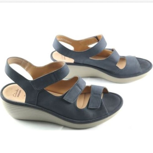 9be2c7d50e93 Clarks Shoes - Clarks Reedly Juno Blue Nubuck Wedge Sandals
